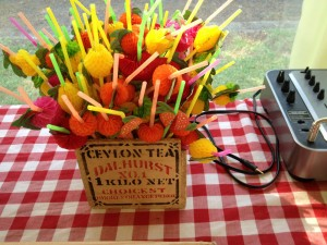 Some funky straws in a great vintage tea box!