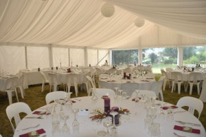 Inside Missy and David's marquee